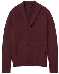Cardigan con collo a scialle bordeaux