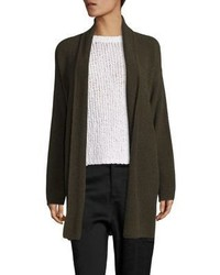 Cardigan con collo a scialle marrone scuro