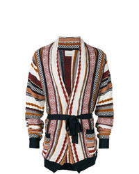 Cardigan con collo a scialle multicolore
