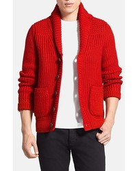 Cardigan con collo a scialle rosso