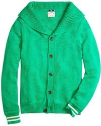 Cardigan con collo a scialle verde