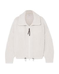 Cardigan con zip bianco di Brunello Cucinelli