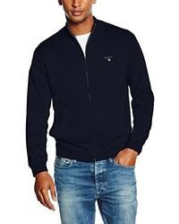 Cardigan con zip blu scuro di Gant