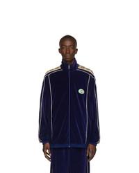 Cardigan con zip blu scuro di Gucci