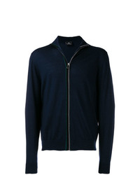 Cardigan con zip blu scuro di Ps By Paul Smith