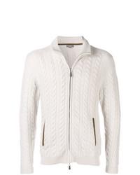 Cardigan con zip lavorato a maglia beige