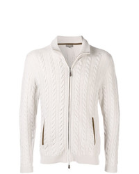 Cardigan con zip lavorato a maglia beige di N.Peal