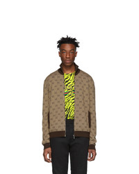 Cardigan con zip lavorato a maglia marrone di Gucci