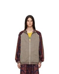 Cardigan con zip scozzese marrone di Gucci