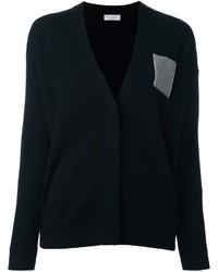 Cardigan di seta nero di Brunello Cucinelli