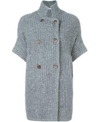 Cardigan doppiopetto lavorato a maglia grigio di Brunello Cucinelli