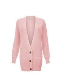 Cardigan lavorato a maglia rosa