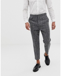 Chino di lana a quadri grigio scuro di ASOS DESIGN