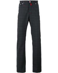 Chino di lana a quadri grigio scuro di Kiton