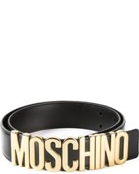 Cintura a vita alta in pelle decorata nera di Moschino