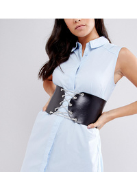 Cintura a vita alta in pelle decorata nera di Retro Luxe London