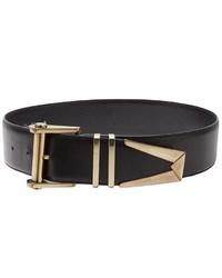 Cintura a vita alta in pelle nera e dorata di Versace