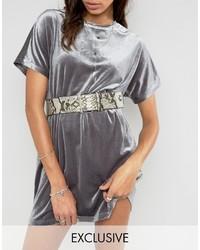 Cintura a vita alta stampata grigio scuro di Glamorous