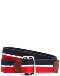 Cintura di tela a righe orizzontali rossa e blu scuro