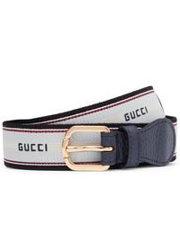 Cintura di tela bianca e blu scuro di Gucci
