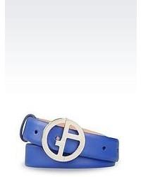 Cintura in pelle blu