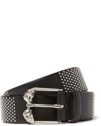 Cintura in pelle con borchie nera