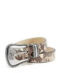 Cintura in pelle con stampa serpente grigia