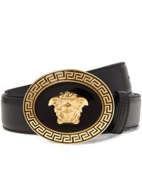 Cintura in pelle decorata nera di Versace