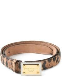 Cintura in pelle leopardata marrone di Dolce & Gabbana