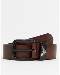 Cintura in pelle marrone scuro di Emporio Armani