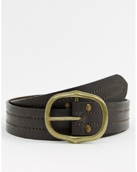 Cintura in pelle marrone scuro di New Look