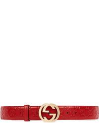 Cintura in pelle rossa di Gucci