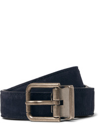 Cintura in pelle scamosciata blu scuro