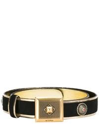 Cintura in pelle scamosciata decorata nera di Etro
