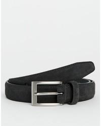Cintura in pelle scamosciata grigio scuro