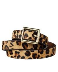 Cintura in pelle scamosciata leopardata marrone chiaro