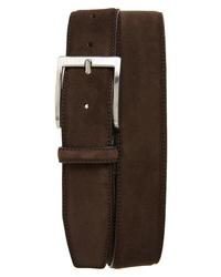 Cintura in pelle scamosciata marrone scuro