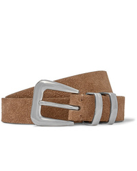 Cintura in pelle scamosciata marrone di Brunello Cucinelli