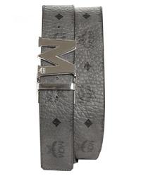Cintura in pelle stampata grigia