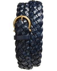 Cintura in pelle tessuta blu scuro