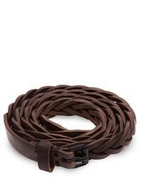 Cintura in pelle tessuta marrone scuro