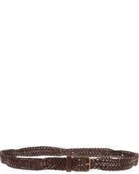 Cintura in pelle tessuta marrone scuro di Dolce & Gabbana