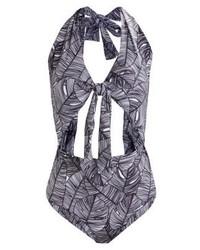 Costume da bagno stampato grigio scuro di Lavish Alice