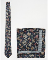 Cravatta a fiori blu scuro di Asos