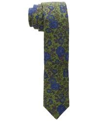 Cravatta a fiori verde oliva