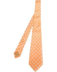 Cravatta a pois arancione di Kiton