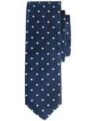 Cravatta a pois blu scuro e bianca