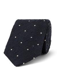 Cravatta a pois blu scuro e bianca di Drake's