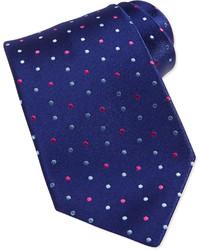 Cravatta a pois blu scuro