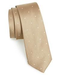 Cravatta a pois marrone chiaro
